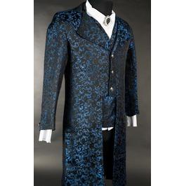 Men's Blue Black Brocade Victorian Gothic Jacket Gentleman's Tailcoat