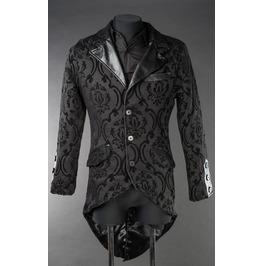 Men's Black Brocade Steampunk Victorian Genlteman's Tailcoat Jacket