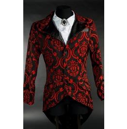 Men's Victorian Gothic Gentleman's Black Red Vampire Tailcoat Jacket