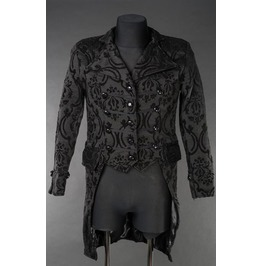 Men's Victorian Gothic 3 Row Button Black Brocade Vampire Tailcoat Jacket