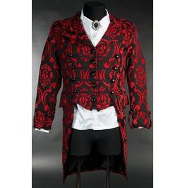 Men's Victorian Gothic 3 Button Black Red Brocade Vampire Tailcoat Jacket