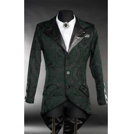 Men's Victorian Gothic Gentleman's Black Green Vampire Tailcoat Jacket