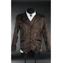 Men's Victorian Gothic Brown Brocade Steampunk Vampire Jacket