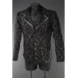 Men's Victorian Gothic Black Brocade Steampunk Vampire Jacket