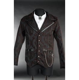 Men's Victorian Gothic Brown Black Brocade Steampunk Vampire Jacket