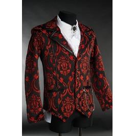 Men's Victorian Gothic Red Black Brocade Steampunk Vampire Jacket