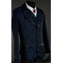 Men's Victorian Gothic Black Blue Brocade Steampunk Vampire Jacket