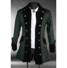 Mens Black Green Brocade Gothic Victorian Pirate Jacket