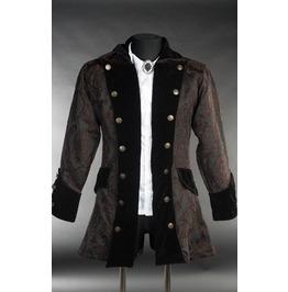 Mens Black Brown Steampunk Brocade Gothic Victorian Pirate Jacket