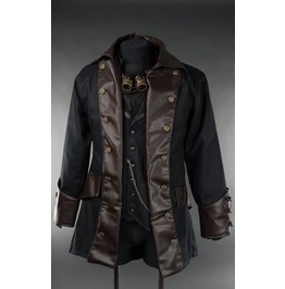 Mens Black Faux Leather Steampunk Goth Victorian Pirate Jacket