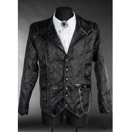 Men's Victorian Gothic Black Brocade 3 Button Steampunk Vampire Jacket