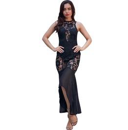 Sleeveless Mesh See Through Fishtail Long Dress