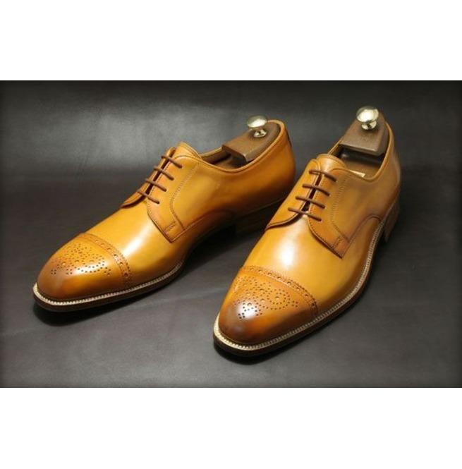 Handmade Men Tan Color Oxford Brogue