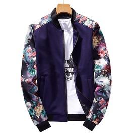 Floral Print Sleeves Slim Fit Bomber Jacket
