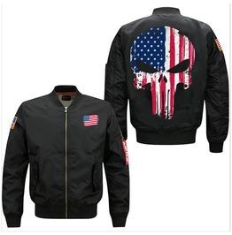 Usa American Flag Skull Air Force Pilot Jacket