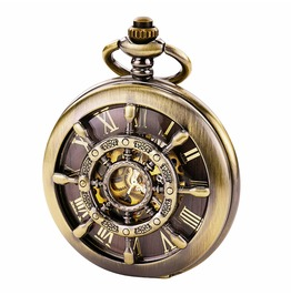 Hunter Roman Numerals Mechanical Skeleton Rudder Hand Winding Pocket Watch
