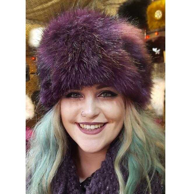 Luxury Faux Fur Hat In Purple With Polar Fleece Lining  edd5ef71014