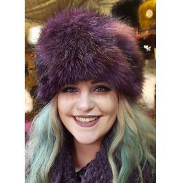 Luxury Faux Fur Hat In Purple With Polar Fleece Lining