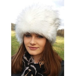Luxury Fur Hat White With Black Tips With Polar Fleece Lining