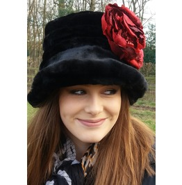 Black Faux Fur Cloche Hat With Large Red Peony Brooch