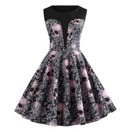 Elliz Clothing's Skull Floral Print Halloween Vintage Party Dress