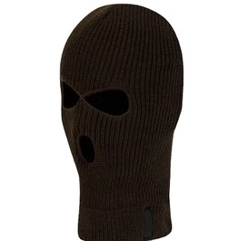Awesome Thick Thermal Fleece Black Biker Face Mask Balaclava Holes On Front