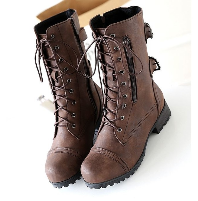 0d7c186bfbb9 Low Heel Lace Up Zipper Women Motorcycle Boots