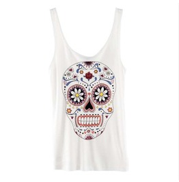 Colorful Skull Head Print Tank Tops