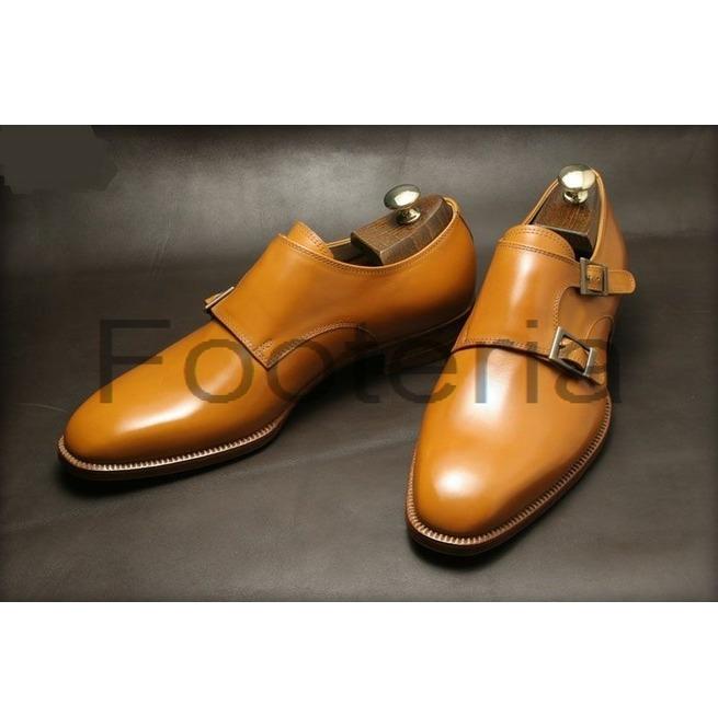 Handmade Tan Leather Shoes Double Monk Strap Shoe Rebelsmarket