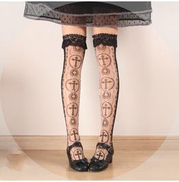 Gothic Lolita Harajuku Mesh Cross Print Lace Stocking Womens Accessories