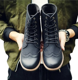 Breathable Pu Leather Oxford Boots