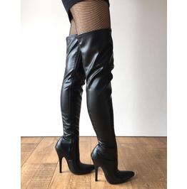 Rtbu Cia 12cm Stiletto Heel Pole Dance Knee/Thigh/Crotch Boot Black Matte