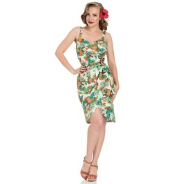 Peggy Tropical Cherry Print Wiggle Dress
