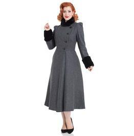 Single Breasted Long Sleeve A Line Silhouette Violet Fur Trim Dress Coat