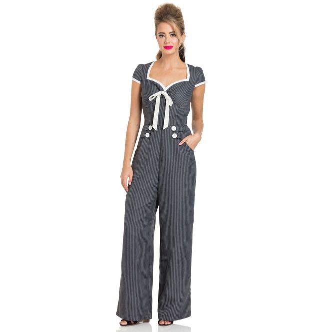 91c1bce9e Leanne Grey Striped Jumpsuit | Voodoo Vixen | RebelsMarket