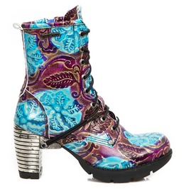 New Rock Shoes Women's Vintage Flower Blue Gothic Boots