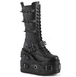 Demonia 5 1 2 pf lace up mid calf boot side zip womens boots