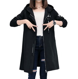 Single Breasted Hooded Long Sleeve Coat