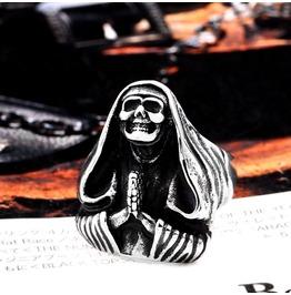 Rebelsmarket mens punk retro thailand buddha skull titanium stainless steel ring rings 4