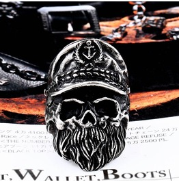 Men's Punk Police Skull Head Titanium Stainless Steel Ring
