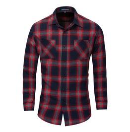 Men's Cotton Long Sleeve Plaid Slim Fitted Dress Shirt