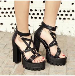 Dark Forest Platform High Heels Pentagram Crossed Ties Womens Sandal Shoes