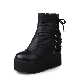 Punk Gothic Ankle Boots Back Lace Up Side Zip Up Creepers Womens Shoes