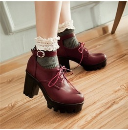 Gothic Punk Block High Heels Lace Up Strap Buckle Womens Shoes