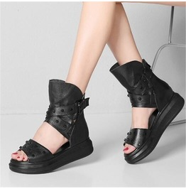 5b31dcfddcb Dark Forest Gothic Punk Creeper Gladiator Studded Strap Sandals Womens Shoes