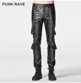 Punk Rock Black Leather Slim Fit Pants With Harness For Men