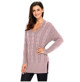 Women's Floral V Neck Rib Knit Sweater