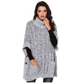 Women's High Collar Loose Cloak Button Knit Sweater