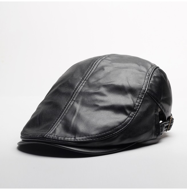 12f585c3435a8 's Classic Faux Leather Driving Newsboy Cap Beret Hat