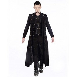 Mens Steampunk Military Trench Coat Long Jacket Black Gothic Halloween Coat